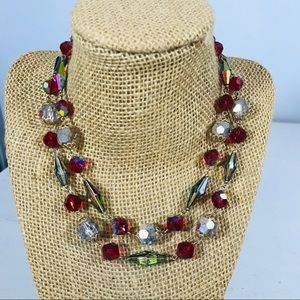 Vtg Aurora Borealis Red Crystal Bead necklace